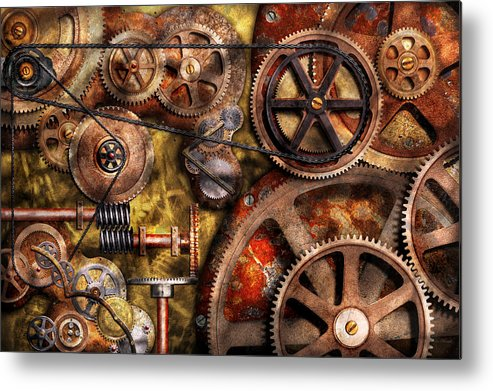 Steampunk Metal Print featuring the photograph Steampunk - Gears - Inner Workings by Mike Savad