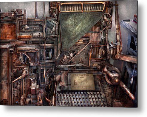 Steampunk Metal Print featuring the photograph Steampunk - Machine - All The Bells And Whistles by Mike Savad