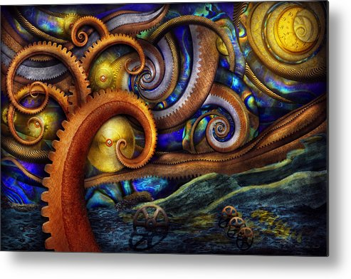 Savad Metal Print featuring the photograph Steampunk - Starry Night by Mike Savad