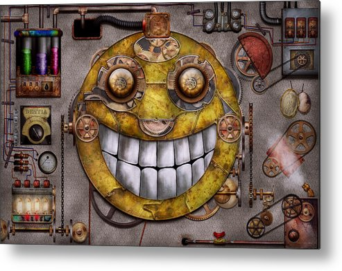 Steampunk Metal Print featuring the digital art Steampunk - The Joy Of Technology by Mike Savad