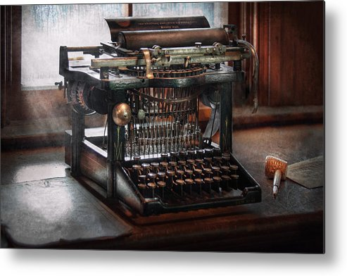 Writer Metal Print featuring the photograph Steampunk - Typewriter - A Really Old Typewriter by Mike Savad