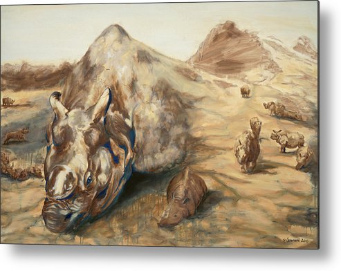 Rhino Metal Print featuring the painting Still Life by Sarah Soward