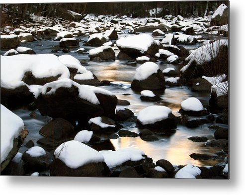 River Metal Print featuring the photograph stillness on the Merced River by Jennette Maintzer