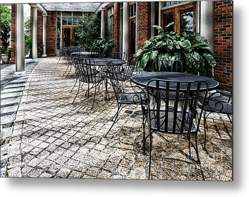 Table Metal Print featuring the photograph Stone Patio by Danny Hooks