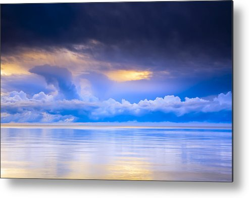 Light Metal Print featuring the photograph Storm Clouds And Lake Winnipeg At by Ken Gillespie