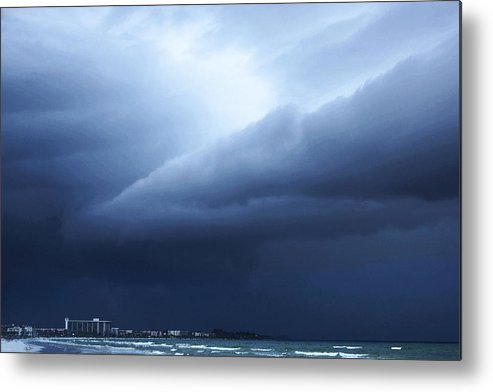 Storm Metal Print featuring the painting Storm Over Siesta Key - Beach Art By Sharon Cummings by Sharon Cummings