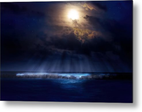 Moon Metal Print featuring the photograph Stormy Moonrise by Mark Andrew Thomas