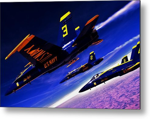 Blue Angels Metal Print featuring the photograph Streaking Blues by Benjamin Yeager