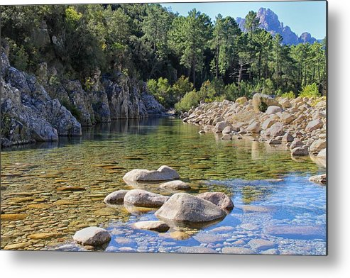Bavella Metal Print featuring the photograph Stream And Rocks At Bavella In Corsica by Jon Ingall