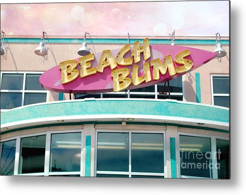 Fantasy Art Beachwear Sign Metal Print featuring the photograph Summer Cottage Beach Bums Myrtle Beach Art Deco Sign by Kathy Fornal