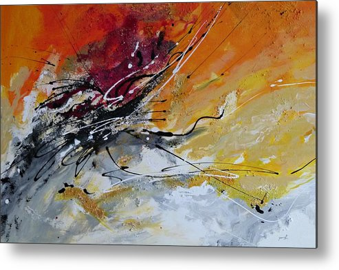 Sunrise Metal Print featuring the painting Sunrise - Abstract Art by Ismeta Gruenwald