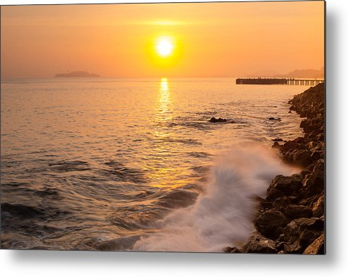 Sunrise Colors - San Francisco Bay Alcatraz Island Water Blast Metal Print featuring the photograph Sunrise Colors - San Francisco Bay by David Yu