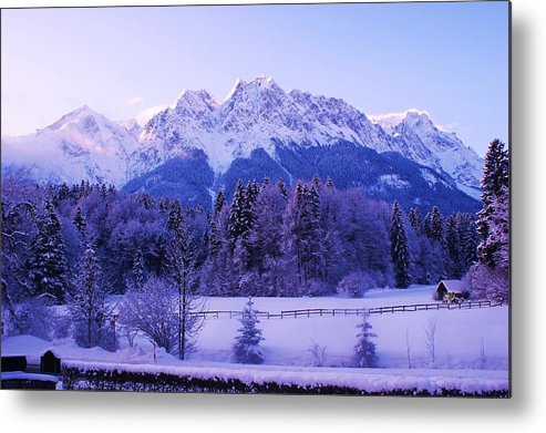 Snow Landscape Metal Print featuring the painting Sunrise On Snowy Mountain by Misuk Jenkins