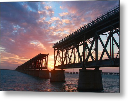 Sunset Metal Print featuring the photograph Sunset At Flagler Bridge by Patsy Zedar
