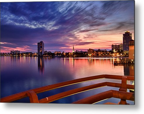 Boats Metal Print featuring the photograph Sunset Balcony Of The West Palm Beach Skyline by Debra and Dave Vanderlaan