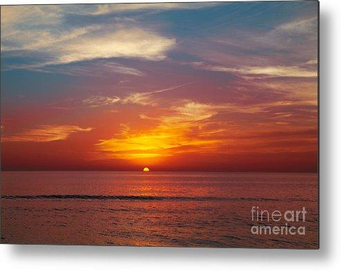 Sunrise Metal Print featuring the photograph Sunset On The Beach. by Yaromir Mlynski