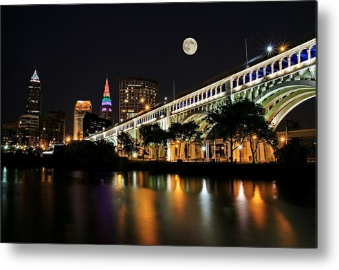 Cleveland Metal Print featuring the photograph Super Moon Over Cleveland by Brian Bendlock
