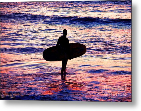 Surfer Metal Print featuring the photograph Surfer Silhouette by Davids Digits