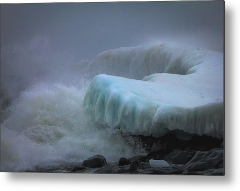 lake Superior stoney Point Ice Splash Storm Nature north Shore Frozen Blizzard Snowstorm greeting Cards mary Amerman surging Sea Metal Print featuring the photograph Surging Sea by Mary Amerman