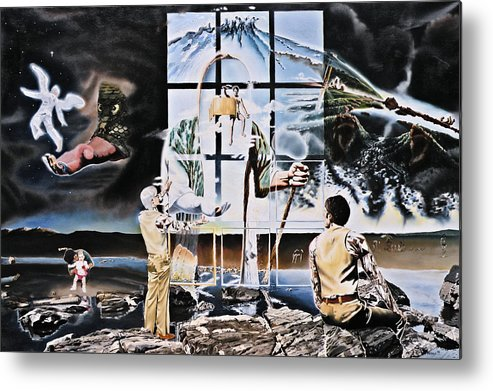 Surreal Metal Print featuring the painting Surreal Windows Of Allegory by Dave Martsolf