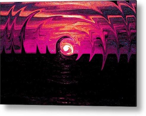 Sun Metal Print featuring the digital art Swirling Sunset In Fuchsia by Alexandra Pollett