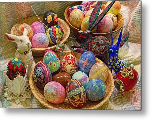 Easter; Cross; Crosses; Crucifixion; Jesus Christ; Jesus; Christ; Christian; Holiday; Holidays; Spiritual; Secular; Symbol; Symbols; Symbolism; Symbolic; Rabbit; Rabbits; Bunny; Bunnies; Easter Bunny; Egg; Eggs; Dyed; Colored; Decorated; Pysanka; Ukrainian; Mexican; Folk Art; Porcelain; Bowl; Bowls; Turned Bowl; Turned Bowls; Wooden Bowl; Wooden Bowls;spiritual;secular;photograph;photographs;photography;gary Holmes;gary; Holmes;horizontal Format;landscape;long Exposure;hdr Metal Print featuring the photograph Symbols Of Easter- Spiritual And Secular by Gary Holmes