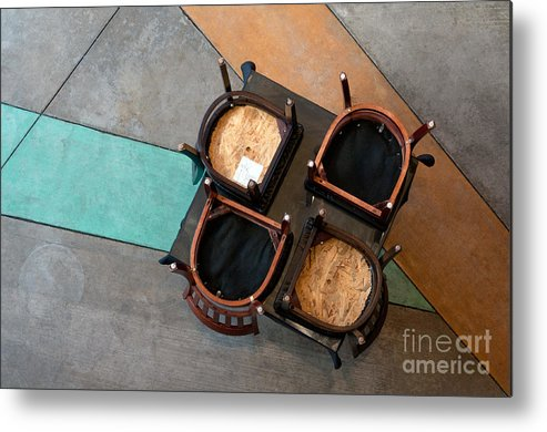 Table Metal Print featuring the photograph Table And Chairs by Dan Holm