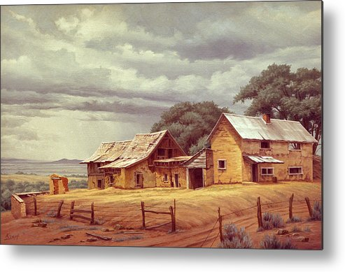 Landscape Metal Print featuring the painting Taos Homestead by Paul Krapf