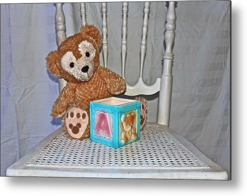 Teddy Bear Metal Print featuring the photograph Teddy And Toy Box by Izabela Bienko