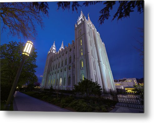 Mormon Metal Print featuring the photograph Temple Perspective by Chad Dutson