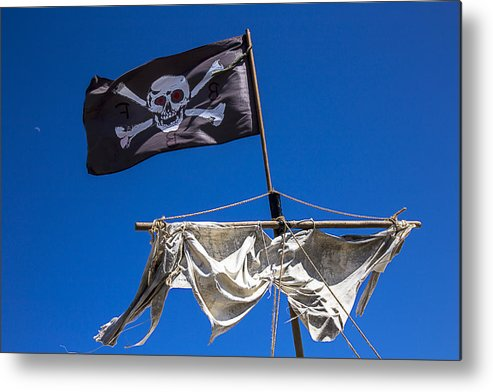 Pirate Flag Skull Banner Piracy Scull Robbers Terror Terrorist F Metal Print featuring the photograph The Death Flag by Garry Gay