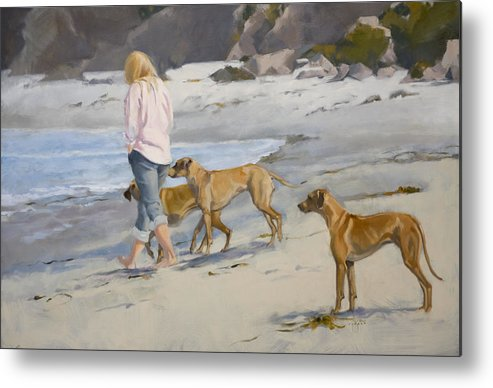 Dogs Metal Print featuring the painting The Dog Walker by Jane Cozart