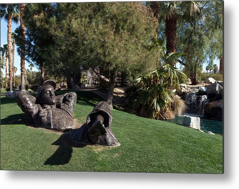 The Metal Print featuring the photograph The Dreamer Sculpture In Palm Desert by Carol M Highsmith