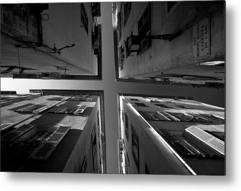 B&w Metal Print featuring the photograph The Four Corners Of Nice by Peter Falkner