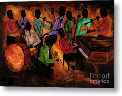 Cat Metal Print featuring the painting The Gitdown Hoedown by Larry Martin