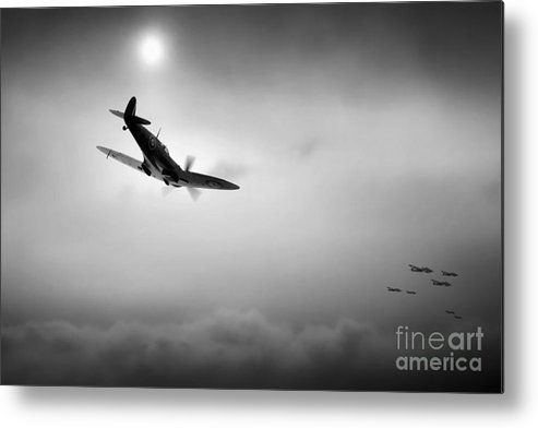 Raf Spitfire Metal Print featuring the digital art The Hunter by J Biggadike