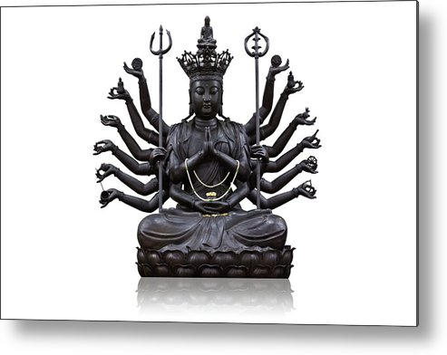 Angel Metal Print featuring the photograph The Images Of Guanyin Black by Tosporn Preede