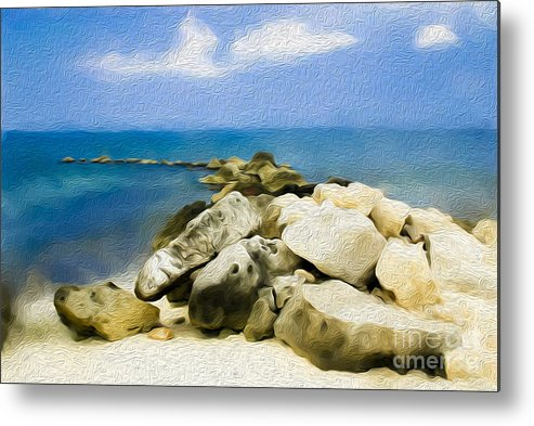 Grand Cayman Metal Print featuring the digital art The Jetty At Seven Mile Beach In Grand Cayman by Kenneth Montgomery