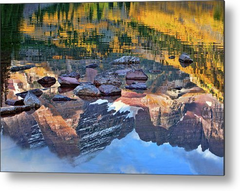 Autumn Colors Metal Print featuring the photograph The Maroon Bells Reflected by Jim Garrison