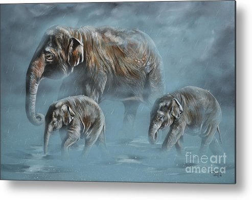 Asian Elephants Metal Print featuring the painting The Mist by Lachri