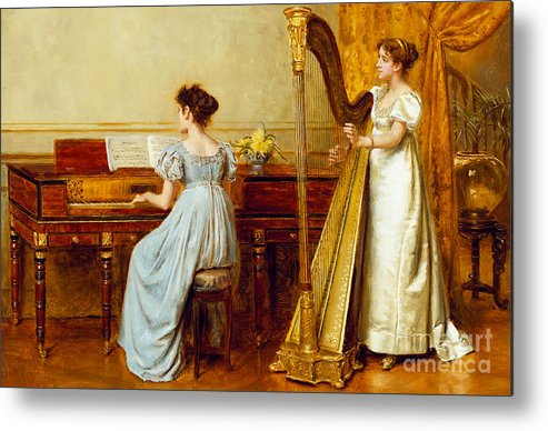 Music; Room; Interior; Female; Musician; Musicians; 19th; 20th; Harp; Harpist; Piano; Pianist; Musical Instrument; Instruments; Recital; Playing; Performing Metal Print featuring the painting The Music Room by George Goodwin Kilburne