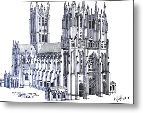 Ink Drawings Metal Print featuring the drawing The National Cathedral by Frederic Kohli