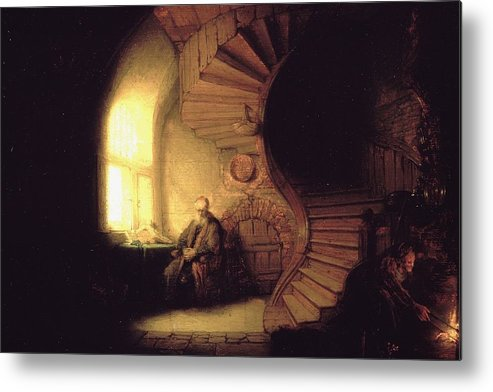 1632 Metal Print featuring the painting The Philosopher In Meditation by Rembrandt van Rijn