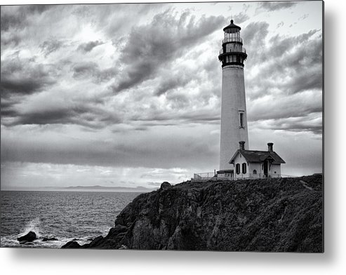 California Metal Print featuring the photograph The Pigeon Point Beacon by Eduard Moldoveanu