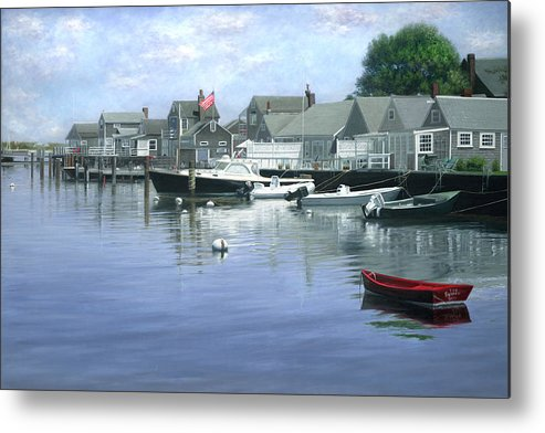Nantucket Island Metal Print featuring the painting The Red Boat Nantucket Harbor by Julia O'Malley-Keyes