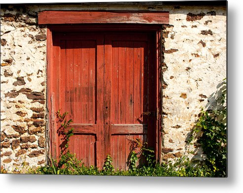 Pleasant Mills Metal Print featuring the photograph The Red Mill Door by Kristia Adams