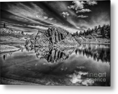 B&w Metal Print featuring the photograph The Rock Island Bw by Mitch Johanson