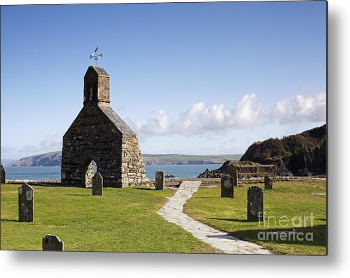 St Brynach Metal Print featuring the photograph The Ruined Church Of St Brynach At Cwm Yr Eglwys by Premierlight Images