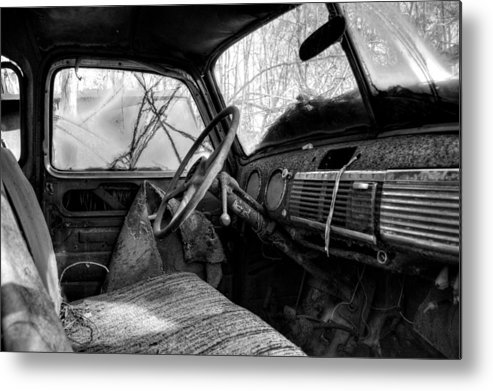 Old Truck Metal Print featuring the photograph The Seat Of An Old Truck In Black And White by Greg Mimbs