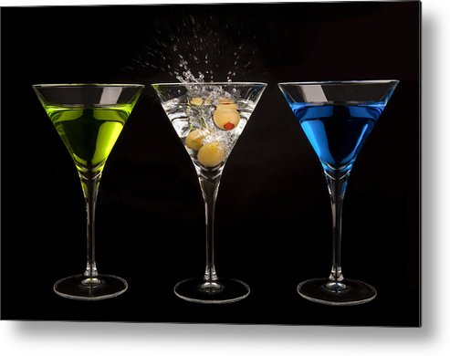 Martini Metal Print featuring the photograph Three Martinis by Richard ONeil